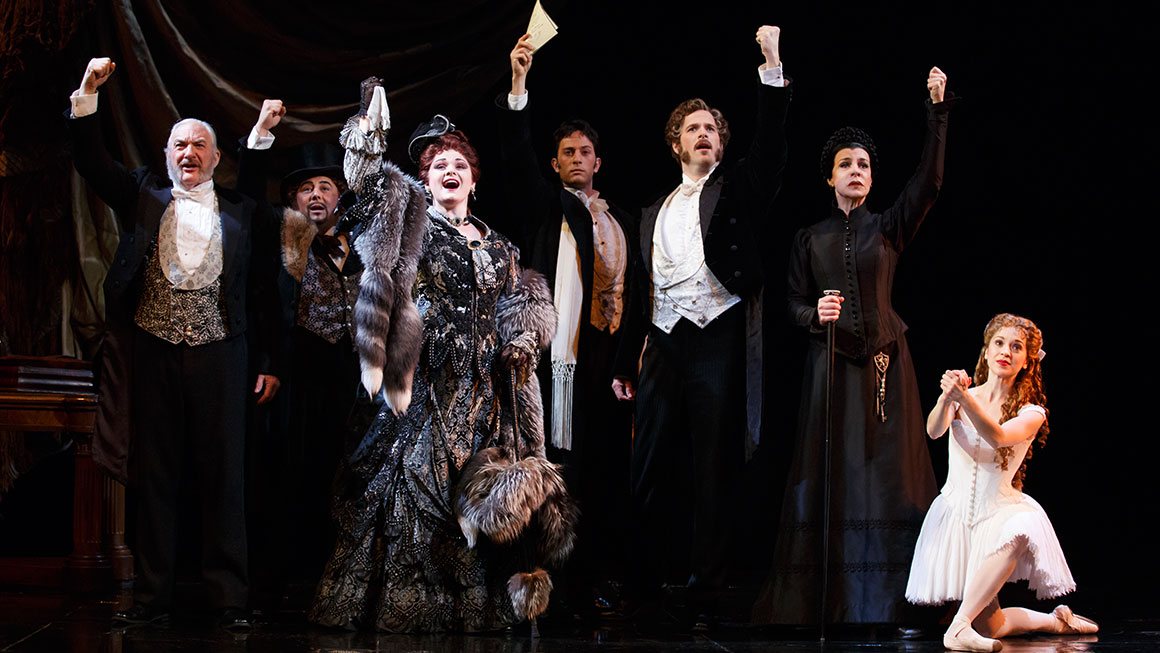 Tim Jerome as Firmin, Christian Šebek as Piangi, Michele McConnell as Carlotta, Kyle Barisich as Raoul, Jim Weitzer as André, Ellen Harvey as Madame Giry and Kara Klein as Meg Giry in <i>Phantom of the Opera</I>.