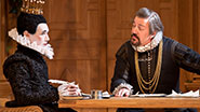 Mark Rylance as Olivia and Stephen Fry as Malvolio in Twelfth Night.