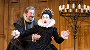 Stephen Fry as Malvolio and Mark Rylance as Olivia in Twelfth Night.