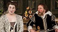 Paul Chahidi as Maria and Colin Hurley as Sir Tobey Belch in Twelfth Night.