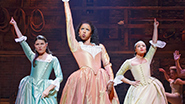 Phillipa Soo as Eliza Hamilton, and Renee Elise Goldsberry as Angelica Schuyler and Jasmine Cephas Jones as Peggy Schuyler in 'Hamilton'