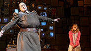Christopher Sieber as Miss Trunchbull and Allison Case as Miss Honey in 'Matilda'