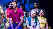 From left to right - Ektor Rivera as Emilio Estefan, Alma Cuervo as Consuelo and Andrea Burns as Gloria Fajardo in On Your Feet