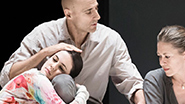 Phoebe Fox as Catherine, Mark Strong as Eddie, and Nicola Walker as Beatrice in 'A View From the Bridge'