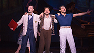 Max Von Essen Henri Baurel, Brandon Uranowitz as Adam Hochberg and Dimitri Kleioris as Jerry Mulligan in An American in Paris