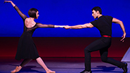 Leanne Cope as Lise Dassin and Dimitri Kleioris as Jerry Mulligan in An American in Paris