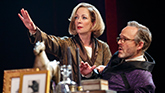 Allison Janney as Ouisa and John Benjamin Hickey as Flan in Six Degrees of Separation on Broadway.