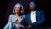 Allison Janney as Ouisa and Corey Hawkins as Paul in Six Degrees of Separation Broadway.
