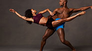 A photo of Alvin Ailey dancers in action.
