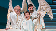 James Gleason as an Angel, Sean Hayes as God and David Josefsberg as an Angel in An Act of God