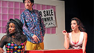 Shamira Clark as Lisa Turtle, Justin Cimino as Screech and Katie Mebane as Kelly Kapowski in 'Bayside! The Musical!'