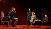 Corey Hawkins as Paul, John Benjamin Hickey as Flan, Allison Janney as Ouisa and Michael Countryman as Larkin in Six Degrees of Separation on Broadway.