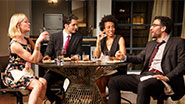 Gretchen Mol as Emily, Hari Dhillon as Amir Kapoor, Karen Pittman as Jory and Josh Radnor as Isaac in 'Disgraced.'