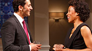 Hari Dhillon as Amir Kapoor and Karen Pittman in 'Disgraced.'