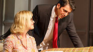 Gretchen Mol as Emily and Hari Dhillon as Amir Kapoor in 'Disgraced.'