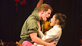 Eva Noblezada as Kim and Alistair Brammer as Chris in Miss Saigon on Broadway.