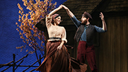 Samantha Massell as Hodel and Ben Rappaport as Perchik in Fiddler On The Roof
