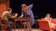 Zachary Quinto as Tom, Cherry Jones as Amanda Celia Keenan-Bolger as Laura in The Glass Menagerie.