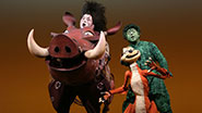 Blake Hammond as Pumbaa and Danny Rutigliano as Timon in The Lion King.
