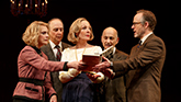 Lisa Emery as Kitty, Michael Countryman as Larkin, Allison Janney as Ouisa, Ned Eisenberg as Dr. Fine and John Benjamin Hickey as Flan in Six Degrees of Separation on Broadway.
