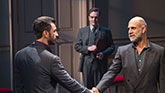 MIchael Aronov as Uri, Jefferson Mays as Terje and Anthony Azizi as Ahmed in Oslo.