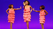 From left to right: Krisha Marcano as Florence Ballard, Allison Semmes as Diana Ross and Trisha Jeffrey as Mary Wilson in Motown The Musical