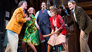 Jeremy Shamos as Frederick, Kate Jennings Grant as Belinda, David Furr as Garry, Andrea Martin as Dotty and Campbell Scott as Lloyd in Noises Off