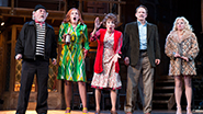 Daniel Davis as Selsdon, Kate Jennings Grant as Belinda, Andrea Martin as Dotty, Campbell Scott as Lloyd and Megan Hilty as Brooke in Noises Off