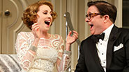 Megan Mullally as Julia Budder and Nathan Lane as James Wicker in 'It's Only a Play'
