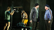 Andy Karl as Rocky Balboa and Dakin Matthews as Mickey in Rocky.
