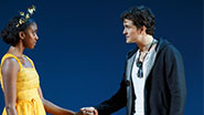 Condola Rashad and Orlando Bloom in Romeo and Juliet.