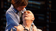 Hannah Cabell as Laura and Frank Langella as Andre in The Father