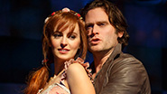 Ahna O'Reilly as Rosamund and Steven Pasquale as Jamie Lockhart in The Robber Bridegroom