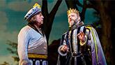 Tom Alan Robbins as Dametas and Jeremy Kushnier as King Basilius in Head Over Heels on Broadway
