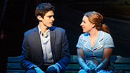 Drew Gehling as Dr. Pomatter and Jessie Mueller as Jenna in Waitress
