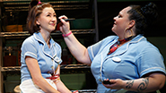 Kimiko Glenn as Dawn and Keala Settle as Becky in Waitress