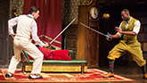 Alex Mandell and Clifton Duncan in The Play That Goes Wrong on Broadway.