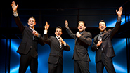 Quinn VanAntwerp as Bob Gaudio, Joseph Leo Bwarie as Frankie Valli, Richard H. Blake as Tommy DeVito, & Matt Bogart as Nick Massi in 'Jersey Boys'