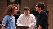 Tracee Chimo as Daphna, Philip Ettinger as Jonah and Michael Zegen as Liam in Bad Jews.