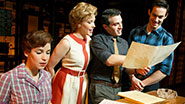 Chilina Kennedy as Carole King, Jessica Keenan Wynn as Cynthia Weil, Jarrod Spector as Barry Mann and Scott J. Campbell as Gerry Goffin in 'Beautiful: The Carole King Musical'
