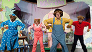 A scene from off-Broadway's family musical The Berenstain Bears LIVE! in Family Matters, the Musical.