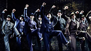 Nick Cordero as Cheech and the men of 'Bullets Over Broadway'