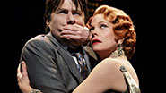 Zach Braff as David Shayne and Marin Mazzie as Helen Sinclair in 'Bullets Over Broadway.'