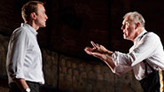 Oliver Chris as Prince William and Tim Pigott-Smith as King Charles III in 'King Charles III