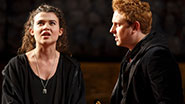Tafline Steen as Jess and Richard Goulding as Prince Harry in 'King Charles III'