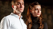 Oliver Chris as Prince William and Lydia Wilson as Kate in 'King Charles III'