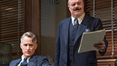 John Slattery as Hildy Johnson and Nathan Lane as Walter Burns in 'The Front Page'