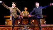 Jefferson Mays as Henry D'Ysquith, Jennifer Smith & Bryce Pinkham as Monty Navarro in A Gentleman's Guide to Love and Murder.