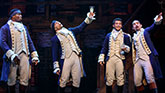 "Okieriete Onaodowan as Hercules Mulligan,  Jordan Fisher as John Laurenes, Seth Stewart as Marquis Lafayette and Javier Munoz as Alexander Hamilton, in ""Hamilton"""