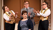 Anne L Nathan ,Edward Hibbert as Albert, Lisa Howard as Jenny & Adam Heller in 'It Shoulda Been You'